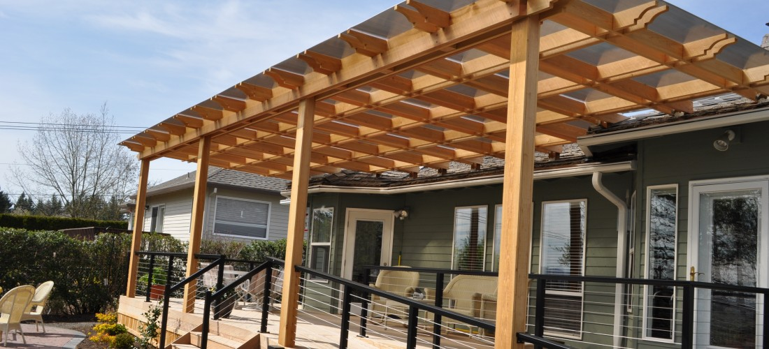 IPE Deck with Cedar Pergola and Stainless Steel Rails | Portland Deck  Builder | Creative Fences & Decks | Design & Construction - IPE Deck With Cedar Pergola And Stainless Steel Rails Portland