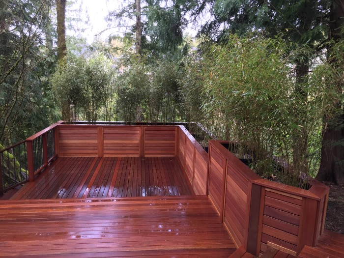 Nw Portland Mahogany Deck With Bamboo Planter Boxes